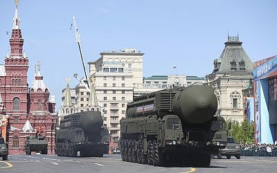 Russian strategic missiles during a Victory Day military parade to celebrate 73 years since the end of WWII and the defeat of Nazi Germany, in Moscow, Russia, Wednesday, May 9, 2018. (AP/Pavel Golovkin)