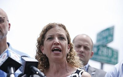 Congresswoman Debbie Wasserman Schultz, speaks during a news conference after touring in the Homestead Temporary Shelter for Unaccompanied Children, on Saturday, June 23, 2018, in Homestead, Fla. (AP Photo/Brynn Anderson)