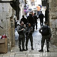 Illustrative: Israeli border police officers stand guard in Jerusalem's old city, Friday, Aug. 17, 2018.  (AP Photo/Mahmoud Illean)
