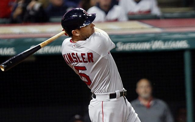 Boston Red Sox's Ian Kinsler bats in the eighth inning of a baseball game against the Cleveland Indians, Sunday, September 23, 2018, in Cleveland (AP Photo/Tom E. Puskar)