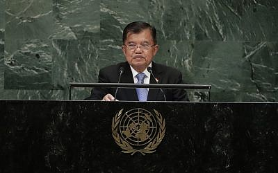 Vice President of Indonesia Jusuf Kalla addresses the 73rd session of the United Nations General Assembly Thursday, Sept. 27, 2018, at the United Nations headquarters. (AP Photo/Frank Franklin II)