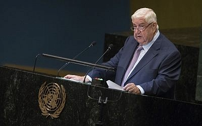 Syrian Deputy Prime Minister and Foreign Minister Walid al-Moallem addresses the 73rd session of the United Nations General Assembly, at UN. headquarters, September 29, 2018. (Mary Altaffer/AP)