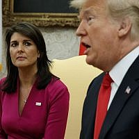 US President Donald Trump speaks during a meeting with outgoing US Ambassador to the United Nations Nikki Haley in the Oval Office of the White House, October 9, 2018, in Washington. (AP Photo/Evan Vucci)