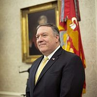 Secretary of State Mike Pompeo stands in the Oval Office of the White House in Washington, Wednesday, Oct. 10, 2018 (AP Photo/Pablo Martinez Monsivais)