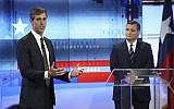 US Rep. Beto O'Rourke, D-Texas, left, and US Sen. Ted Cruz, R-Texas, right, take part in a debate for the Texas US Senate, Tuesday, October 16, 2018, in San Antonio. (Tom Reel/San Antonio Express-News via AP, Pool)