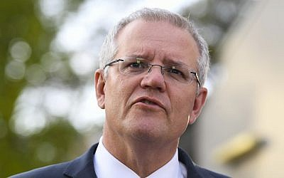 Australian Prime Minister Scott Morrison speaks to the media in Canberra, October 17, 2018. (Lukas Coch/AAP Image via AP)