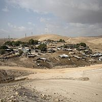 The West Bank Bedouin community of Khan al-Ahmar Oct. 21, 2018 (AP Photo/Majdi Mohammed)