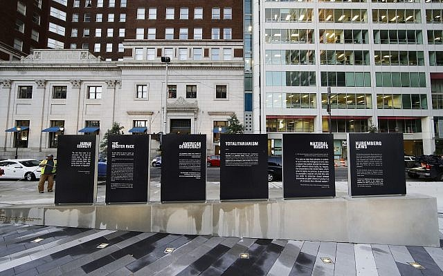 This photo shows the redesigned Holocaust Memorial Plaza in Philadelphia, Monday, Oct. 22, 2018. The memorial that originally opened in 1964 has been expanded and enhanced to focus on both remembrance and education. (AP Photo/Matt Rourke)