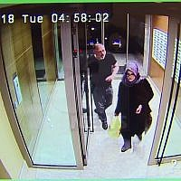As image taken from CCTV video that emerged Monday Oct. 22, 2018, purportedly showing Saudi writer Jamal Khashoggi and his fiancee, Hatice Cengiz, at an apartment building in Istanbul, Turkey, just hours before his death in the Saudi Arabian Consulate (AP News via AP)