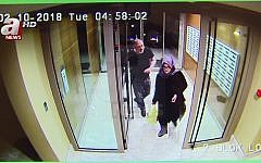 In this image taken from CCTV video that emerged Monday Oct. 22, 2018, purportedly showing Saudi writer Jamal Khashoggi and his fiancee, Hatice Cengiz, at an apartment building in Istanbul, Turkey, just hours before his death in the Saudi Arabian Consulate (A News via AP)
