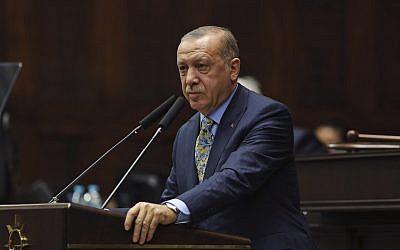 Turkey's President Recep Tayyip Erdogan addresses members of his ruling Justice and Development Party (AKP), in Ankara, Turkey,   October 23, 2018 (AP Photo/Ali Unal)