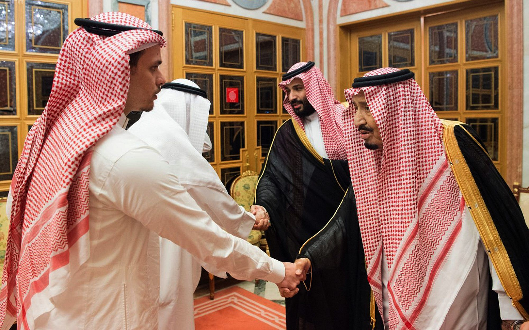 Saudi king crown prince meet with family of slain journalist the in this photo released by saudi press agency spa saudi king salman right m4hsunfo