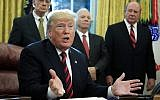 """President Donald Trump speaks following a ceremony signing the """"America's Water Infrastructure Act of 2018"""" into law in the Oval Office at the White House in Washington, Tuesday, Oct. 23, 2018. (AP Photo/Manuel Balce Ceneta)"""