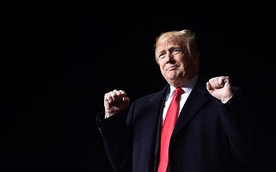 US President Donald Trump at a rally at Central Wisconsin Airport in Mosinee, Wisconsin, on October 24, 2018. (AP Photo/Susan Walsh)