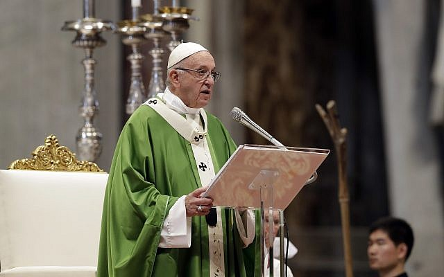 Pope Francis delivers his speech during a Mass for the closing of the synod of bishops in St. Peter's Basilica at the Vatican, Oct. 28, 2018. (AP Photo/Andrew Medichini)