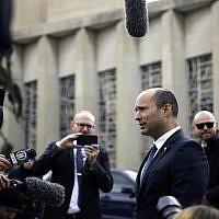 Israel's then-diaspora affairs minister Naftali Bennett speaks to the media near the Tree of Life Synagogue in Pittsburgh, Sunday, October 28, 2018. (AP Photo/Matt Rourke)