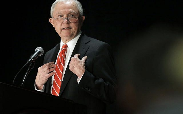US Attorney General Jeff Sessions speaks at a luncheon event organized by the Boston Lawyers Chapter of the Federalist Society, October 29, 2018, at a hotel in Boston. (AP Photo/Steven Senne)