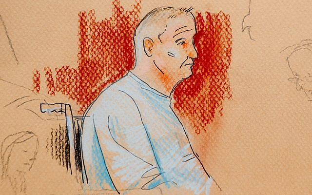 A courtroom sketch depicting Robert Gregory Bowers as he appeared in a wheelchair at federal court on Monday, October 29, 2018, in Pittsburgh. (Dave Klug via AP)