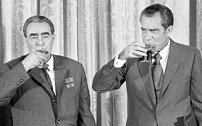 President Richard M. Nixon, right, and Soviet leader Leonid Brezhnev drink a toast at the White House in Washington, DC, June 21, 1973. The toast comes after the two leaders signed a pact to limit offensive nuclear arsenals. (AP Photo)