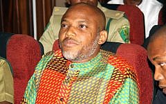 In this Friday, Jan. 29, 2016 file photo, Biafran separatist leader Nnamdi Kanu attends a court hearing at the Federal High court in Abuja, Nigeria. (AP Photo/ File)