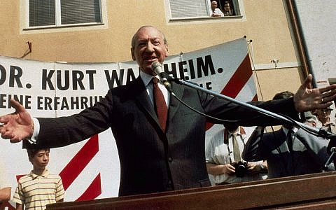 Former UN secretary-general Kurt Waldheim campaigns for president of Austria at Zistersdorf on April 30, 1986. Documents from the UN, reportedly showing Waldheim's knowledge of Nazi atrocities, were released in May to Israeli officials. (AP Photo/Werner Vollmann)