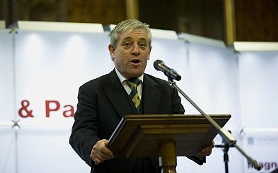 John Bercow, the Speaker of the House of Commons, makes an address at the Houses of Parliament in London, Thursday, February 5, 2015. (AP Photo/Matt Dunham, Pool)