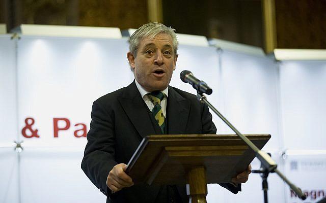 John Bercow, the Speaker of the House of Commons, makes an address at the Houses of Parliament in London, Thursday, February 5, 2015. (AP Photo/Matt Dunham, Pool)