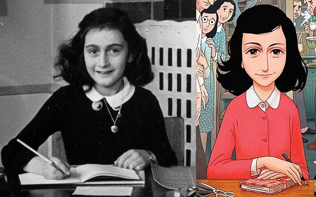 Anne Frank in a photograph at her grammar school in Amsterdam, and a similar image in 'Anne Frank's Diary: The Graphic Adaptation,' published in English in 2018 (courtesy: Anne Frank Fonds)