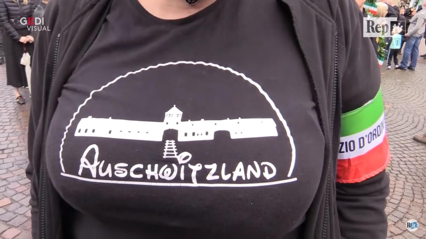 Fascist Rally Organizer In Italy Wears Auschwitzland T Shirt The