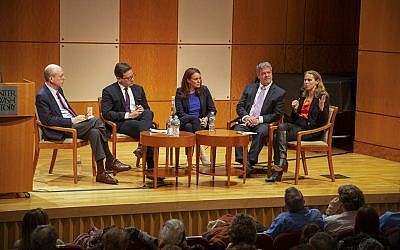 From left to right:  Clyde Haberman, veteran New York Times reporter; Julian Zelizer, Princeton University Professor of History & Public Affairs and CNN Political Analyst; Halie Soifer, Executive Director, Jewish Democratic Council of America; Jeff Jacoby, opinion columnist for The Boston Globe; Rabbi Jill Jacobs, Executive Director, T'ruah: The Rabbinic Call for Human Rights. (Cathryn J. Prince/ Times of Israel)