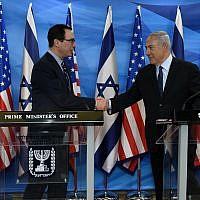 US Treasury Secretary Steve Mnuchin meets with Prime Minister Benjamin Netanyahu in Jerusalem, October 21, 2018 ( Matty Stern/US Embassy Jerusalem)