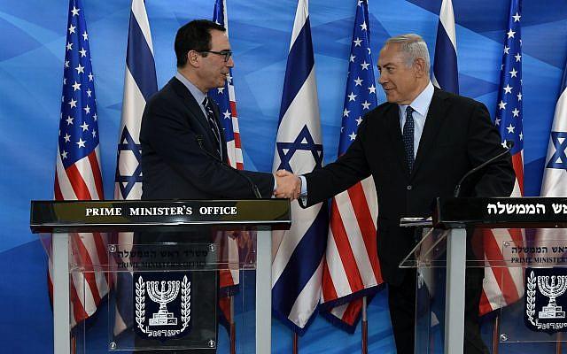 US Treasury Secretary Steve Mnuchin meets with Prime Minister Benjamin Netanyahu in Jerusalem, October 21, 2018 ( Matty Stern/US Embassy Jerusalem)