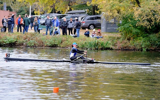 Michal Spalter, in the last half-mile stretch of the Head of the Charles Regatta, in Cambridge, Massachusetts, on a cold, blustery day that made for harsh rowing conditions, October 21, 2018. (Kate Mouligne/courtesy RESOLUTE Racing)