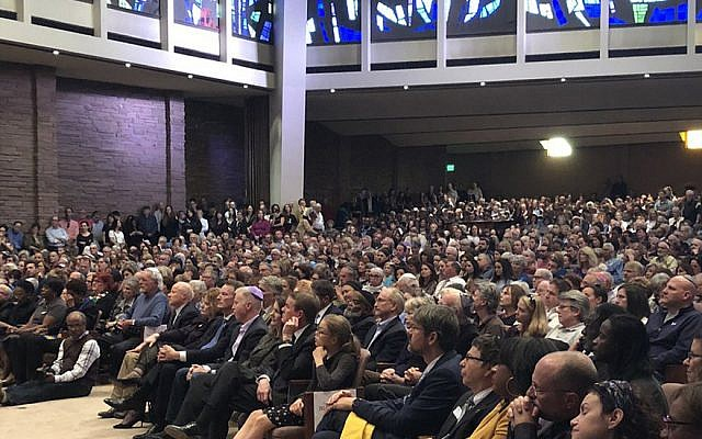 A vigil for the victims of the Pittsburgh synagogue shooting held at Temple Emanuel in Denver, US, October 28, 2018. (Office of Gov. John Hickenlooper via JTA)