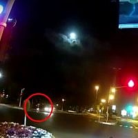 Screen capture from video of a fatal hit-and-run road accident in Tel Aviv, September 24, 2018. (YouTube)