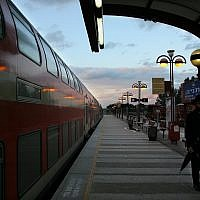 Illustrative photo of the Netanya railway station. February 19, 2008. (Chen Leopold/Flash 90)