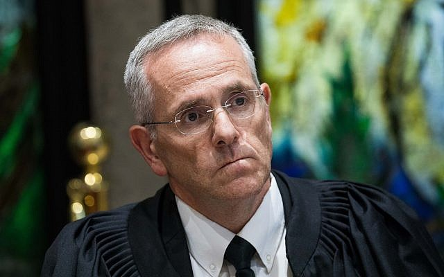 Supreme Court judge David Mintz attends a ceremony in Jerusalem, on June 13, 2017. (Yonatan Sindel/Flash90)