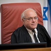 Supreme Court Justice Neal Hendel at the Supreme Court in Jerusalem on April 23, 2018. (Yonatan Sindel/Flash90)