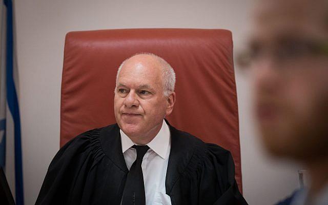 Justice Uzi Vogelman at the Supreme Court in Jerusalem on June 4, 2018 (Yonatan Sindel/Flash90)