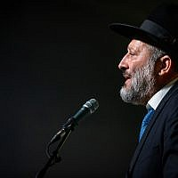Interior Minister Aryeh Deri speaks at a Shas party event in Jerusalem marking the Sukkot on September 27, 2018. (Aharon Krohn/Flash90)