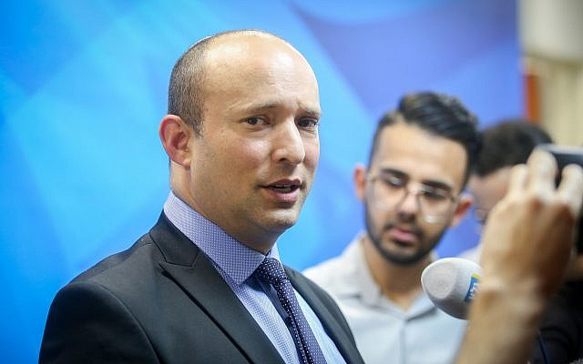 Education Naftali Bennett speaks to press, prior to the weekly cabinet meeting, at the Prime Minister's Office in Jerusalem, September 16, 2018. (Marc Israel Sellem/Pool/Flash90)