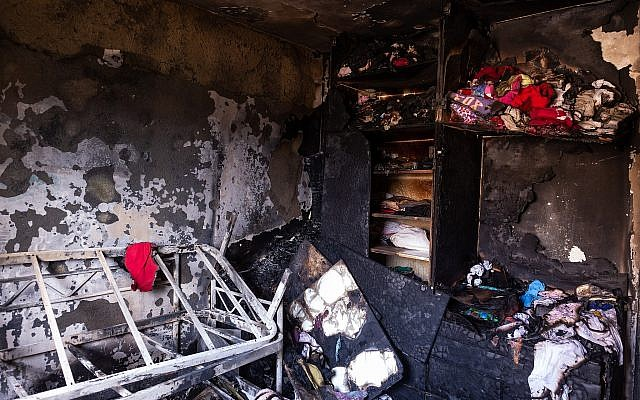 Two children were killed after a fire broke out at a home in Beitar Illit, in the West Bank on October 10, 2018 (Aharon Krohn/Flash90)