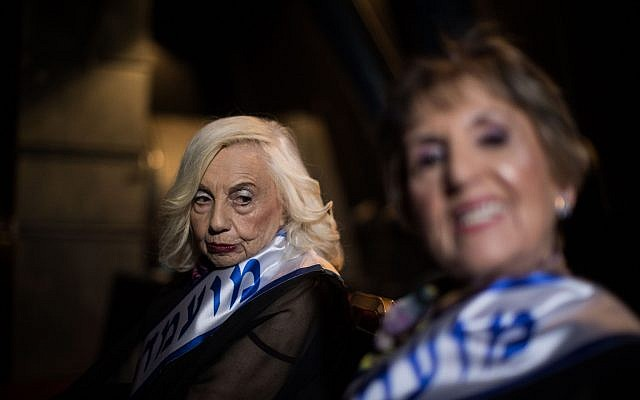 Holocaust survivors seen backstage as they participate in a beauty pageant in the northern Israeli city of Haifa, on October 14, 2018. (Hadas Parush/Flash90)