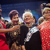 "Tova Ringer, a 93-year-old Holocaust survivor, wins the ""Miss Holocaust Survivor"" beauty pageant in the northern Israeli city of Haifa, on October 14, 2018. (Hadas Parush/Flash90)"