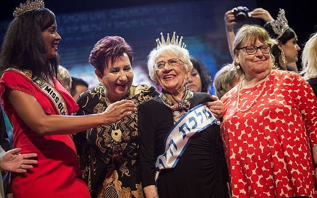 "Tova Ringer, a 93-year-old Holocaust survivor, wins the ""Miss Holocaust Survivor"" beauty pageant in the northern Israeli city of Haifa, on October 14, 2018. (Hadas Parush/Flash90)"