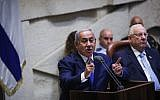 Prime Minister Benjamin Netanyahu opens the winter session of the Knesset on October 15, 2018. (Hadas Parush/Flash90)