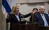 Then-opposition leader Tzipi Livni speaks during the plenary session of the opening day of the winter session at the Knesset, on October 15, 2018. (Hadas Parush/Flash90)