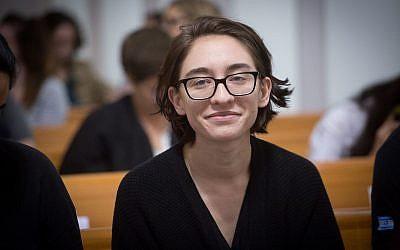 US student Lara Alqasem at the Supreme Court in Jerusalem on October 17, 2018. (Miriam Alster/Flash90)