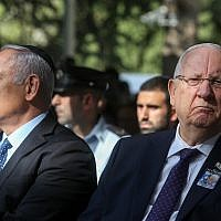 President Reuven Rivlin (right) and Prime Minister Benjamin Netanyahu, during a memorial service marking 23 years since the assassination of late prime minister Yitzhak Rabin, held at Mount Herzl cemetery in Jerusalem, on October 21, 2018. (Marc Israel Sellem/POOL)