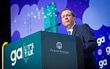 Jewish Agency chairman Isaac Herzog speaking at the Jewish Federation's annual General Assembly in Tel Aviv, on October 23, 2018. (Miriam Alster/Flash90)